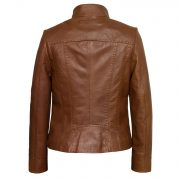 Ladies leather jacket May cognac back