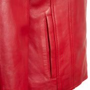 Ladies leather jacket Red Cayla pocket detail