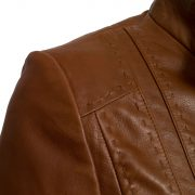 Ladies shoulder detail cognac leather jacket May