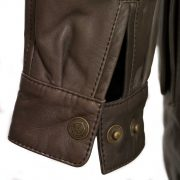 Womens Brown leather coat Hunter cuff detail