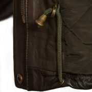 Womens Hunter Brown Leather coat drawstring detail brown