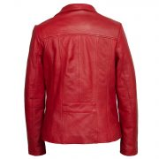 Womens Red Leather jacket Cayla back image
