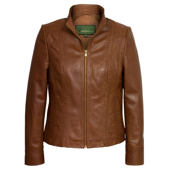 Womens cognac leather jacket May