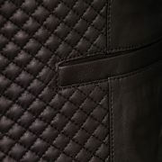 Anna black leather jacket pocket detail