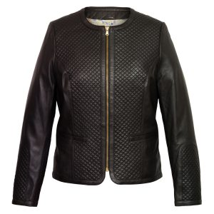 Women's Black Quilted Leather Jacket: Anna
