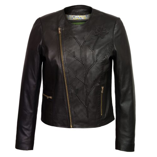 Women's Black Collarless Leather Jacket: Lotty