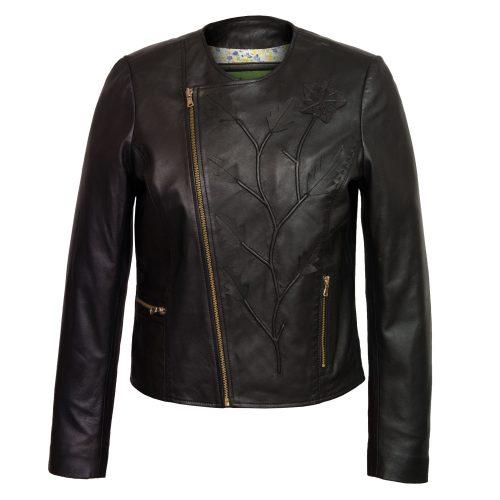 Women's Black Collarless Leather Jacket: Lotty