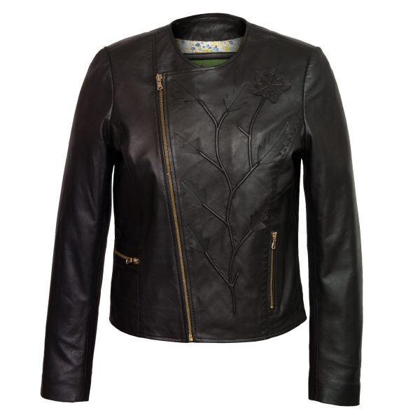 Ladies Black Leather jacket Lotty
