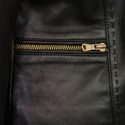 Ladies Black leather jacket zip detail