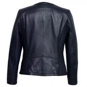 Ladies Navy Leather quilted jacket Anna