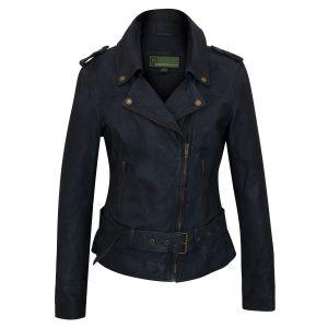 Women's Navy Leather Biker Jacket: Zoe
