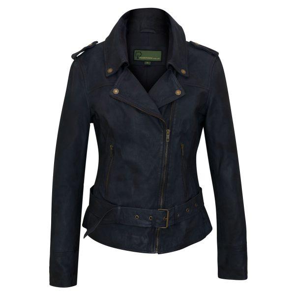Women's Navy Leather Jacket