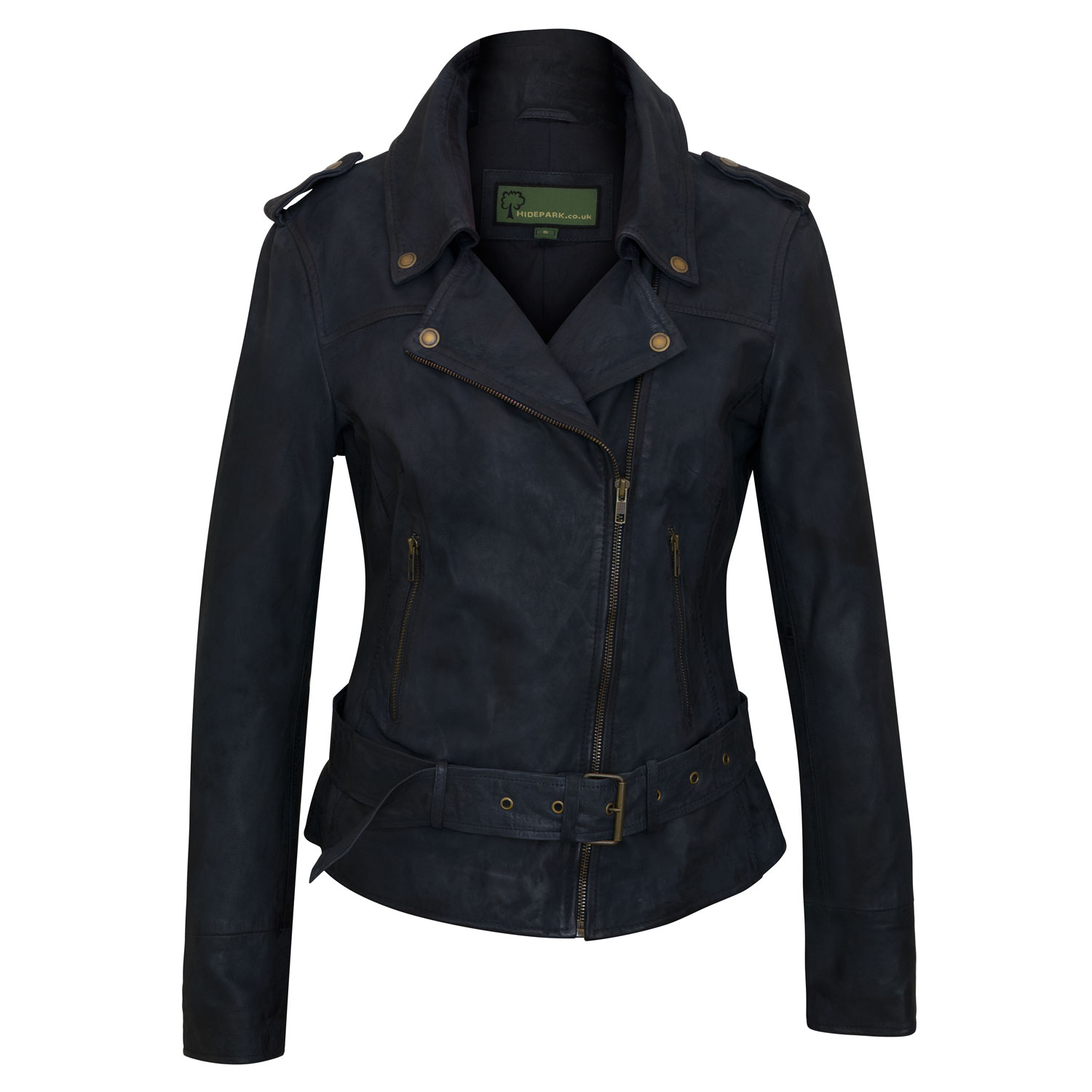 Women's Navy Leather Biker Jacket: Zoe