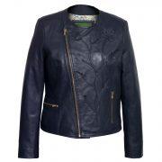 Women's Navy Collarless Leather Jacket : Lotty