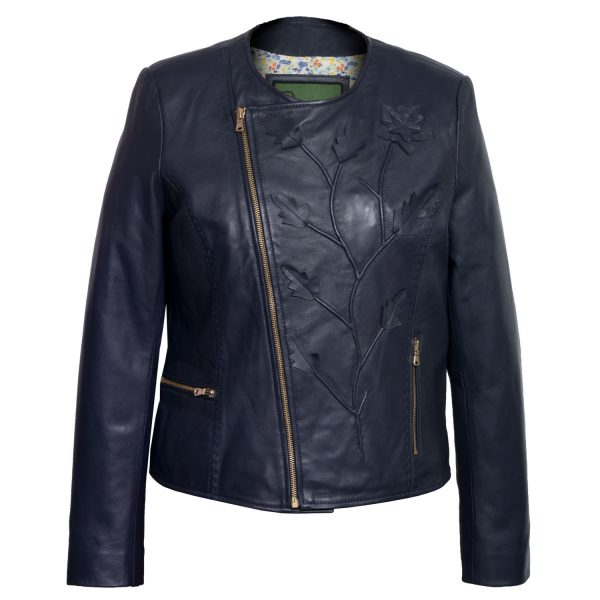 Women's Navy Collarless Leather Jacket