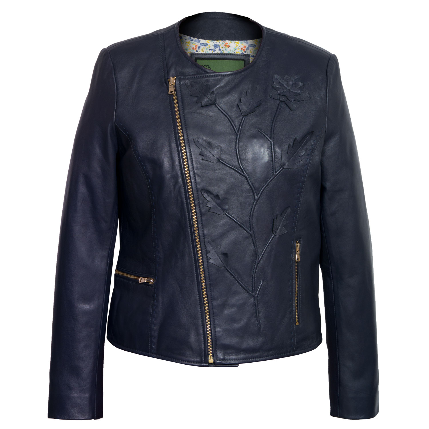 Women's Navy Collarless Leather Jacket : Lotty