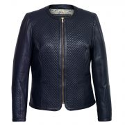 Women's Navy Quilted Leather Jacket: Anna
