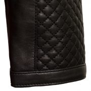 Ladies black leather jacket Anna cuff detail