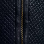 Ladies navy leather jacket front zip detail