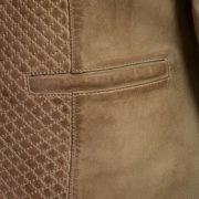 Ladies quilted leather jacket pocket detail