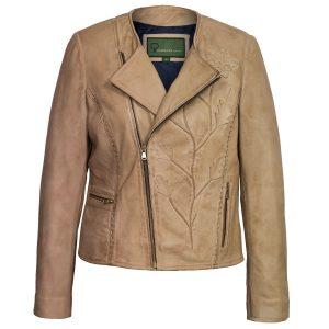 Women's Sand Collarless Leather Jacket: Lotty