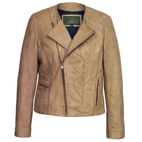 Women's Sand Collarless Leather Jacket
