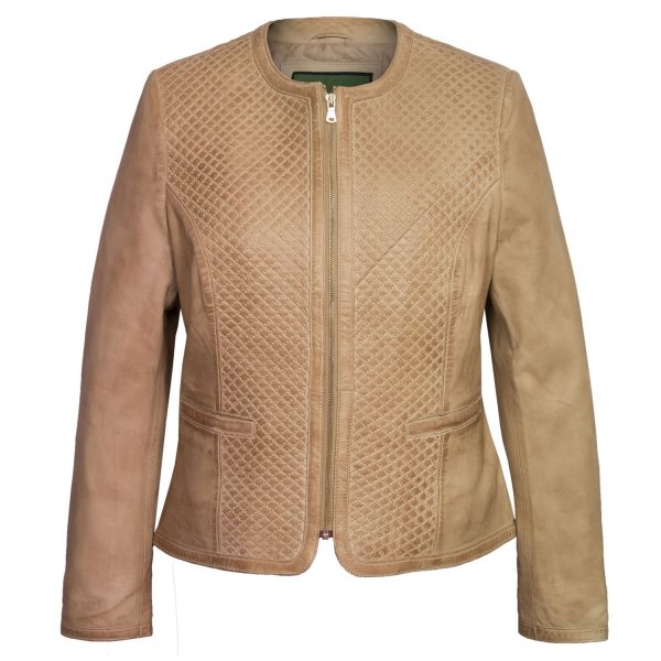 Womens Anna Leather quilted leather jacket sand