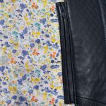 Womens Anna navy leather jacket inside pocket and lining detail