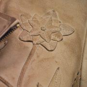 Womens Lotty leather jacket flower detail