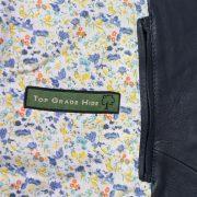 Womens Lotty navy leather jacket inside pocket detail
