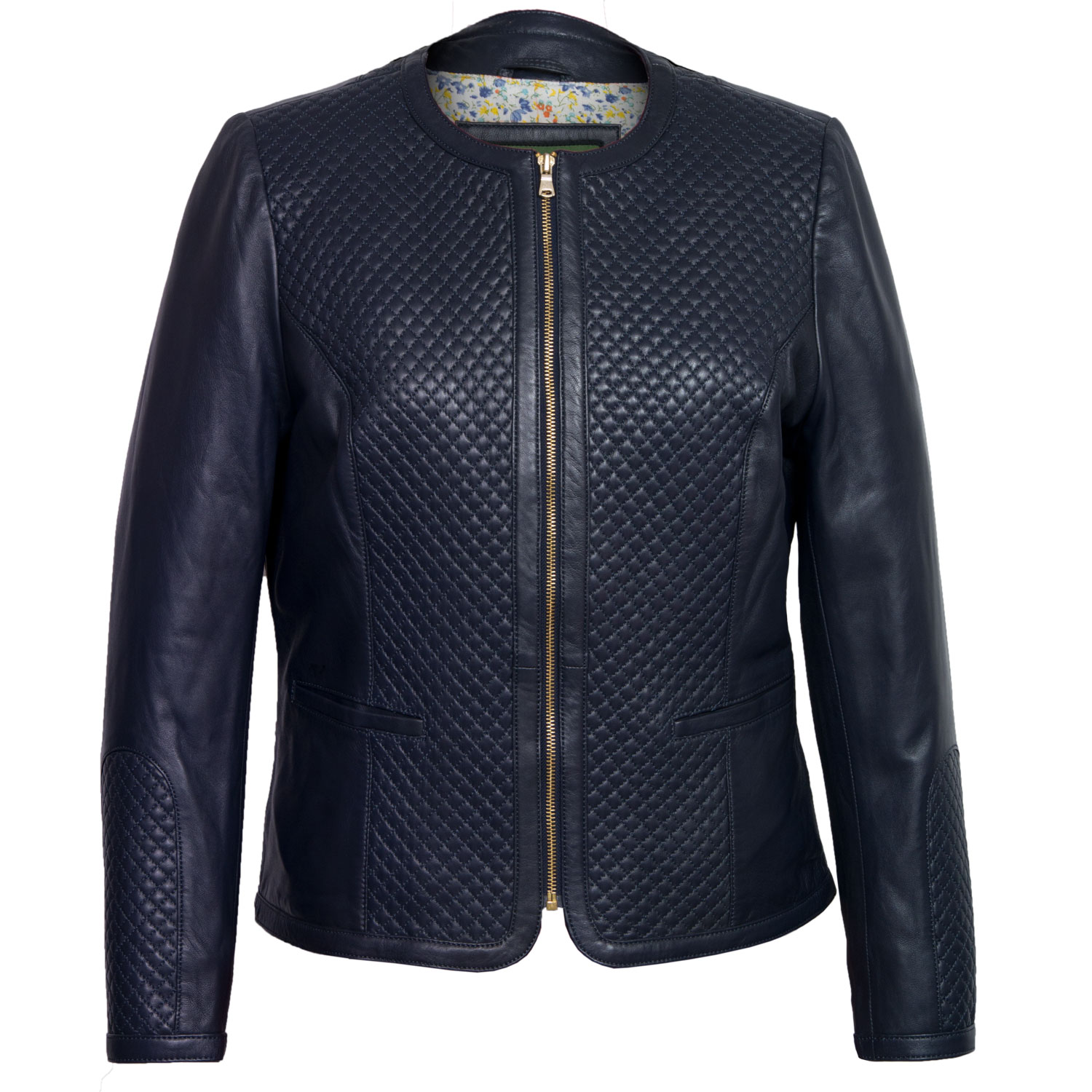 Womens Navy Leather jacket Anna
