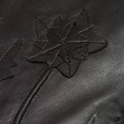 Womens black leather jacket flower detail