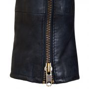 Womens navy leather biker jacket zip detail Zoe