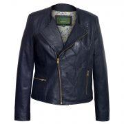Womens navy leather jacket lotty open zip Lotty