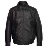 Men's Black Leather Blouson Jacket: Will