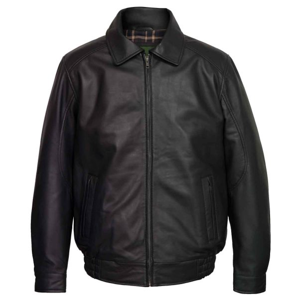 Men's Black Leather Blouson Jacket