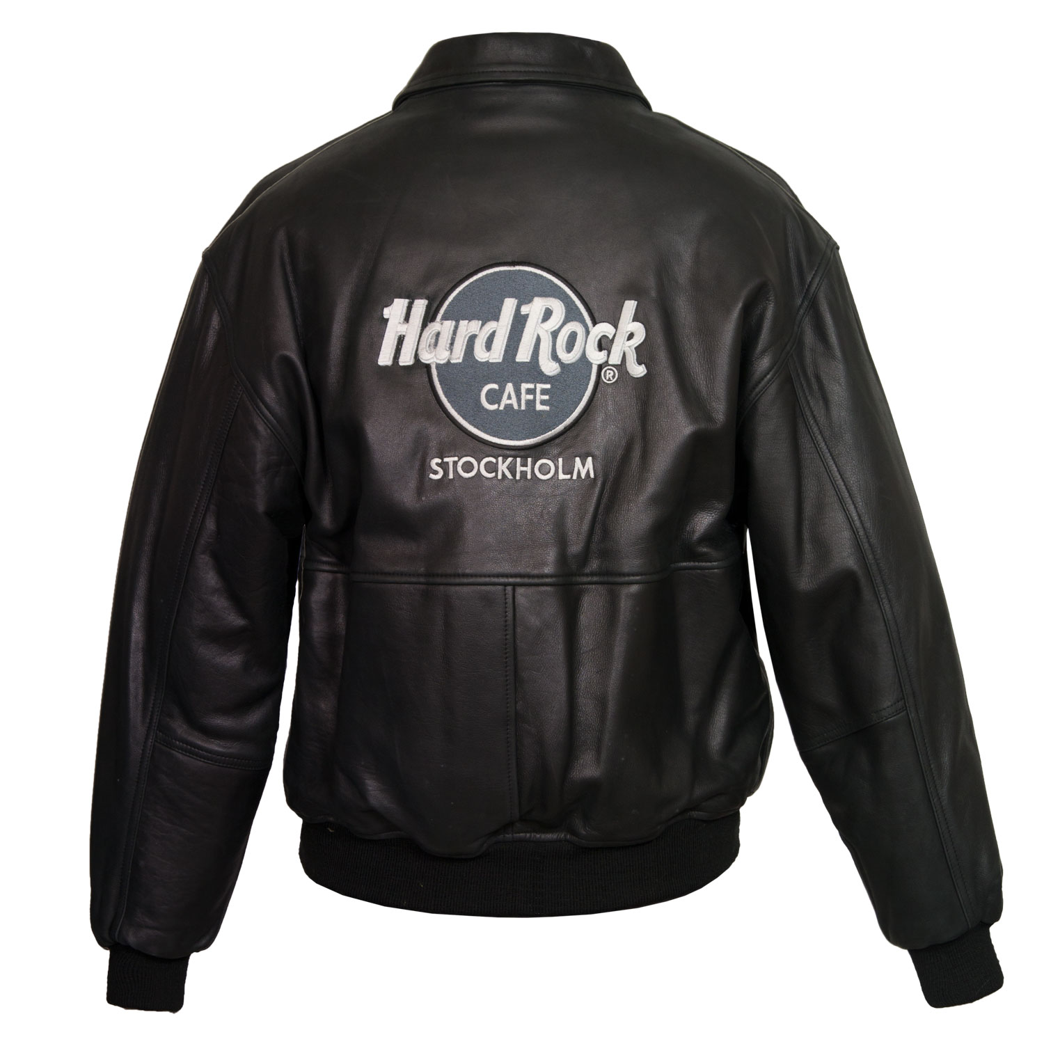 Men's Black Leather Blouson Jacket: Rocky