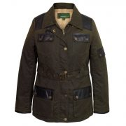 Women's Green Waxed Cotton Coat: Welby