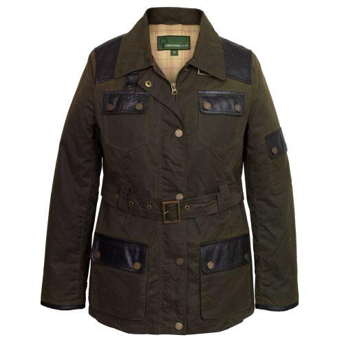 Women's Green Waxed Cotton Coat: Welby