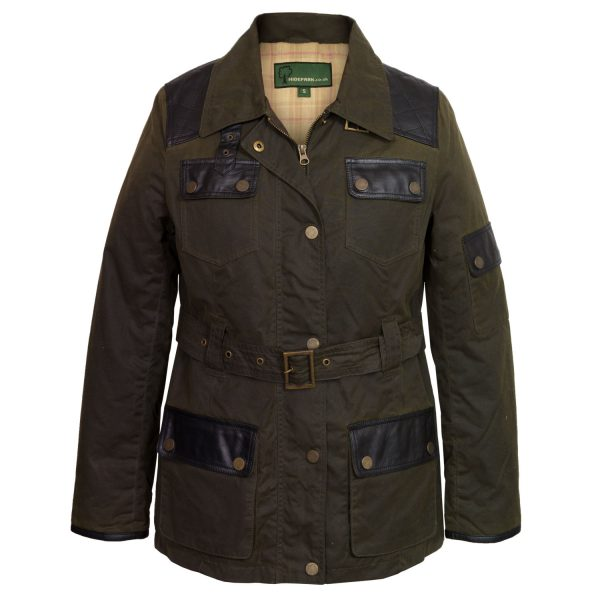 Women's Green Waxed Cotton Coat