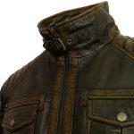 Gents black antique leather jacket Jenson collar buckle detail