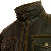 Gents black antique leather jacket Jenson collar buckle detail