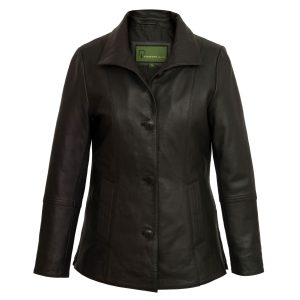Women's Black Leather Jacket: Angie