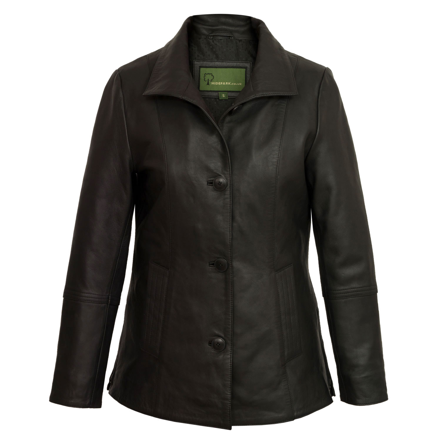 Women's Black Leather Jacket: Angie