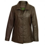 Women's Brown Leather Jacket: Angie