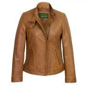 Women's Tan Leather Jacket : Hidepark