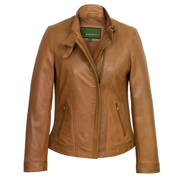 Ladies Tan leather jacket Elsie
