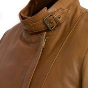 Ladies Tan leather jacket Elsie collar detail