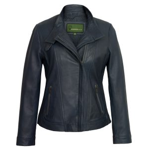 Women's Blue Leather Jacket: Elsie
