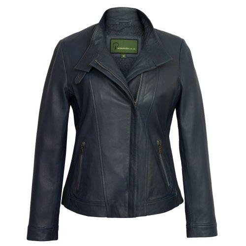 Women's Blue Leather Jacket: Elsie
